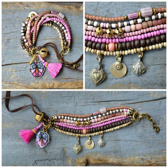 RESERVED Rustic Ethnic multi strand bracelet by BeadStonenSkin