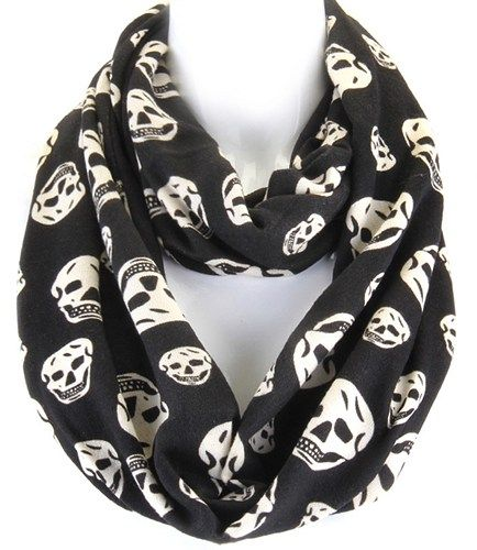 Skull Infinity Scarf Black and White All Season Fashion Statement FUN | OrrWhat - Accessories on ArtFire