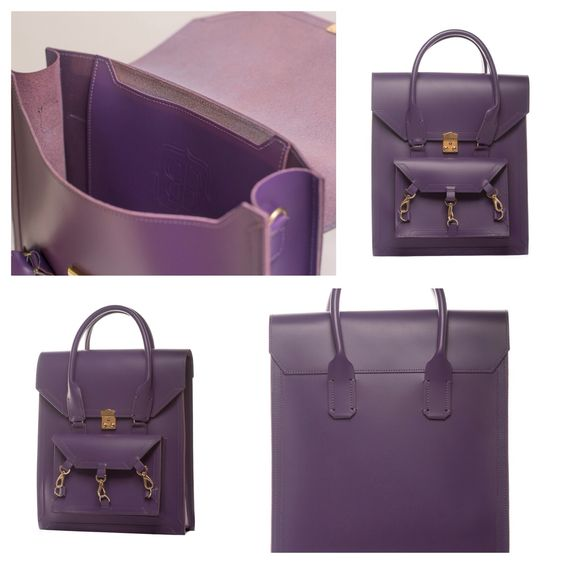Purple medium size tote bag practical for daily use in side the Pelham bag is spacious with a medium size pocket with the Tomas Brilliance logo embossed at the centre of the pocket  #bag #handbag #tote #purple