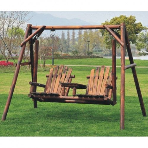 Aos Patio Bronson 2 Person Rustic Wooden Swing Set W Console Porch Swing Wooden Swings Wooden Swing Set