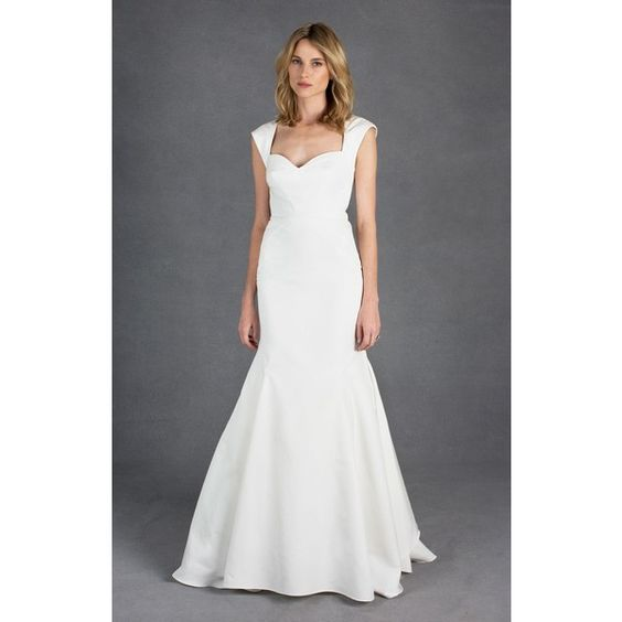 Nicole Miller Jane Bridal Gown (€1.635) ❤ liked on Polyvore featuring dresses, wedding dresses, wedding, wedding dress, weddings and antq white