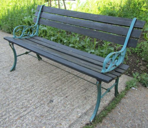 Old Wooden Garden Bench With Cast Iron Ends Ebay 24 Starting Bid My Style Pinterest