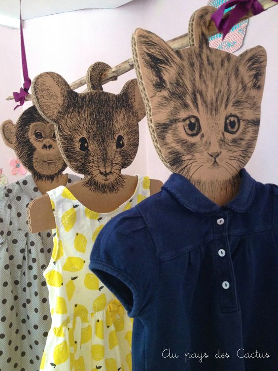 DIY cardboard animal clothes hangers                                                                                                                                                      Plus