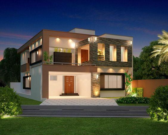 10 marla modern home design 3d front elevation lahore for Modern house design pakistan