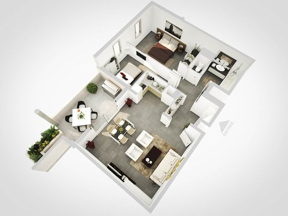 Plan de vente 3d d 39 un appartement t moin nice design for Appartement design plan