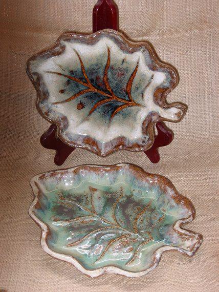 Oak Leaf Serving Dish Handmade Pottery by MalloryvillePottery