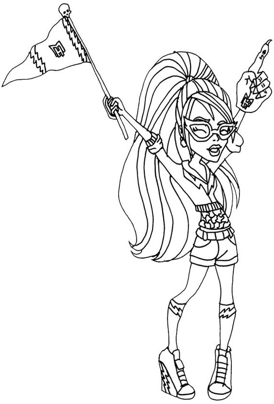 ghoulia yelps feel very happy coloring pages monster