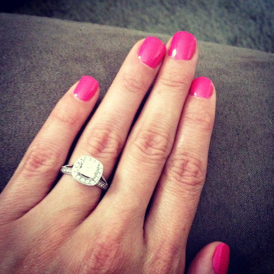My Engagement Ring With Pink Gel Nails!