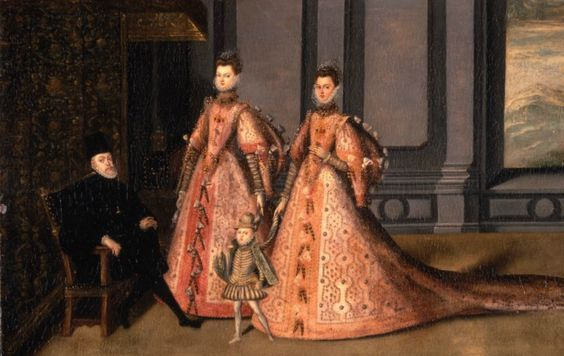 The Family of Felipe II, 1583-85, Anonymous Spanish Oil on panel This panel represents Philip II with his children, Isabel Clara Eugenia, Catalina Micaela, and the future Philip III. The work reflects the style of official court portraits as well as the miniatures found incartas ejecutorias. During the reign of Philip II, artists established the conventions for future Spanish Hapsburg imagery.