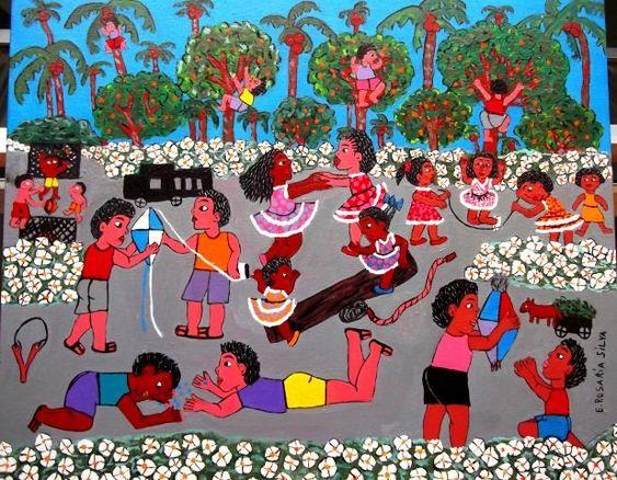 ROSARIA SILVA TEMA BRINCADEIRA DE CRIANÇAS A VEDNA COM AJUR SP (Painting),  50x40 cm por Arte Naif AJUR SP VENDEDOR E DIVULGADOR DA ARTE NAIF BRASILEIRA