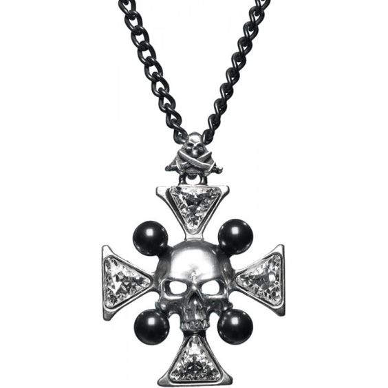 Shop here for this gothic necklace from the Alchemy line of jewelry, shaped like a crystal (Swarovski) cross with skull.