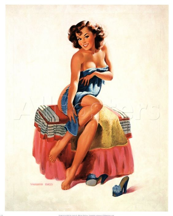 Pin-Up Girl with Towel Art Print - Vintage Art | VintageFineArtPrints ...