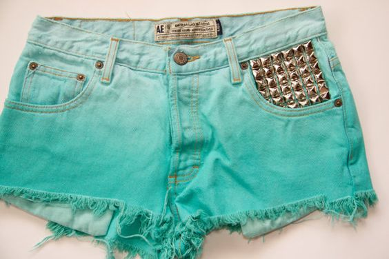Ombre Dip Dyed Studded Denim Shorts. via Etsy.