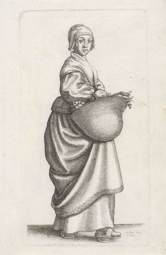 Wenceslaus Hollar | Ornatus Muliebris Anglicanus (The Clothing of English Women), Wenceslaus Hollar, 1640 | Engelse keukenmeid, in profiel naar rechts, een grote mand met groenten aan de arm. Ze draagt een kapje afgezet met kant op het hoofd  en een onversierde halsdoek om de schouders. Trippen aan de voeten. No. 26 uit de serie Ornatus Muliebris Anglicanus: