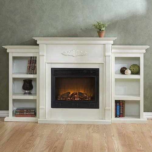 white electric fireplace w bookshelves remote ebay