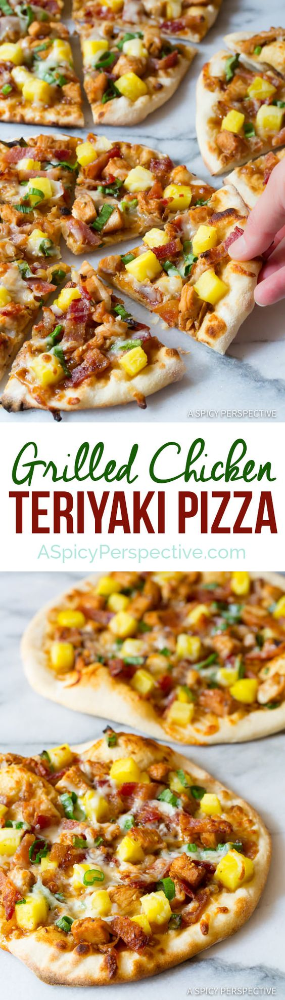Easy Grilled Chicken Teriyaki Pizza Recipe via A Spicy Perspective