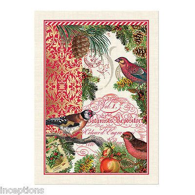 Michel Design Works Cotton Kitchen Tea Towel Christmastime Birds - NEW
