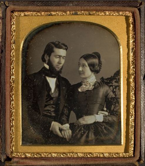 Daguerreotype of James Bennett and his wife c.1850, by A.B. Tubbs (George Eastman House Collection):