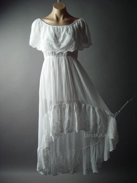 Eyelet Ruffle Off The Shoulder Mexican Peasant Long White Cotton ...