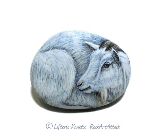 Pretty White Goat Portrait Hand Painted On A Small Stone by RockArtAttack