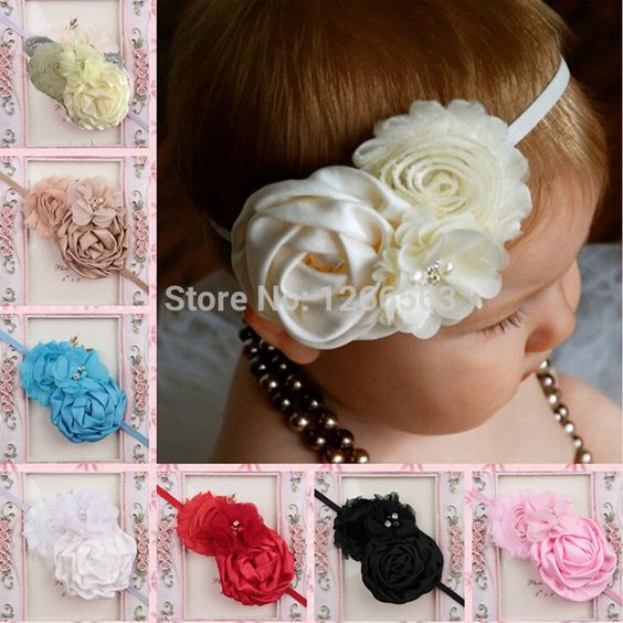 Infant Baby Headbands 2015 Bandeau Cheveux Satin Ribbon Roses Flower Headband Baby Girls Hair Accessories 10 Colors