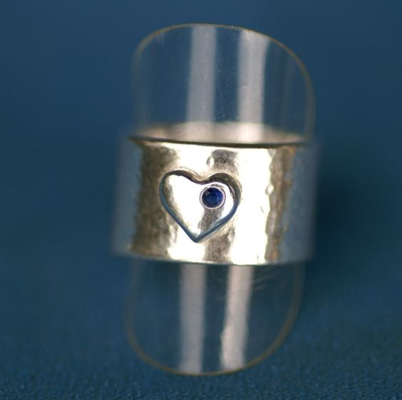 Heart Ring in Silver  Hammered with Sapphire by LinneaSilverArrays, $80.00