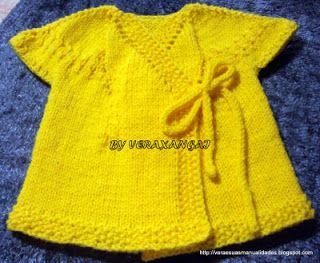 VERA E SUAS MANUALIDADES-Veraxangai: QUIMONINHO DE TRICO-Cuddly Wrap Baby Sweater
