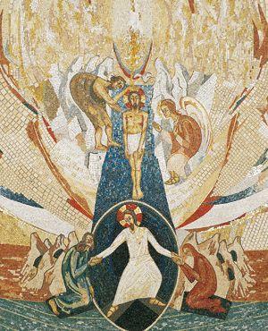 Cette mosaïque de la chapelle Redemptoris Mater, au Vatican, due à l'atelier de Marko Ivan Rupnik, présente ensemble, de façon très significative, deux mystères de la vie du Christ : son baptême par Jean Baptiste dans le Jourdain et sa descente aux enfers après sa mort sur la Croix.