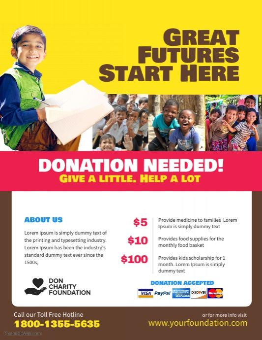 Charity Donation Fundraising Flyer Poster Template Fundraiser