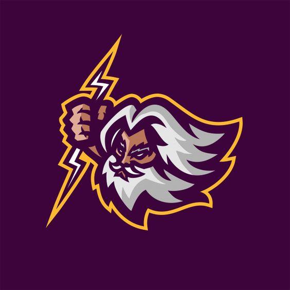 Zeus gods esport gaming mascot logo template Premium Vector