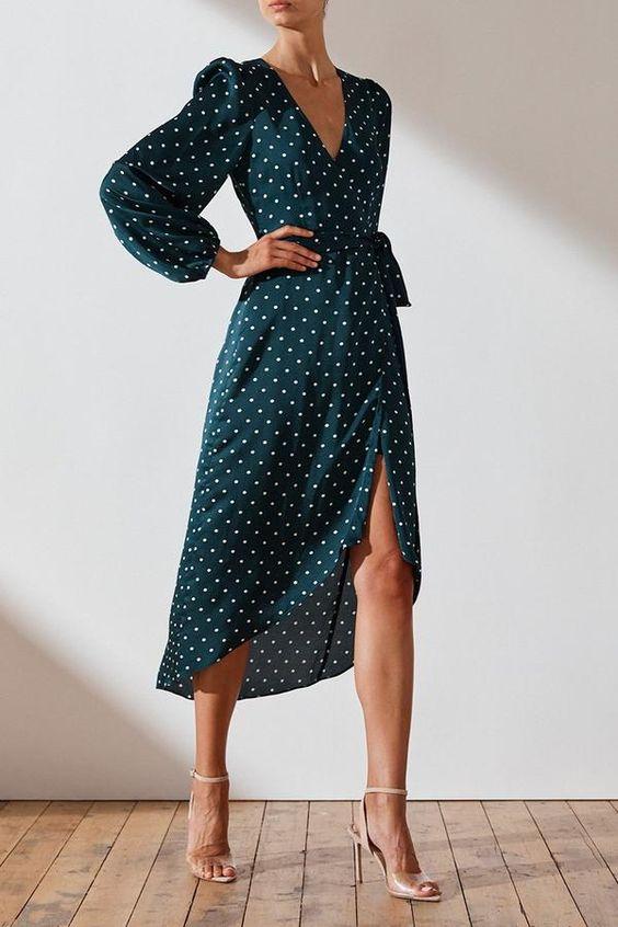 Martina Wrap Midi Dress  EmeraldIvory  Dresses  Shona Joy  Shona Joy International