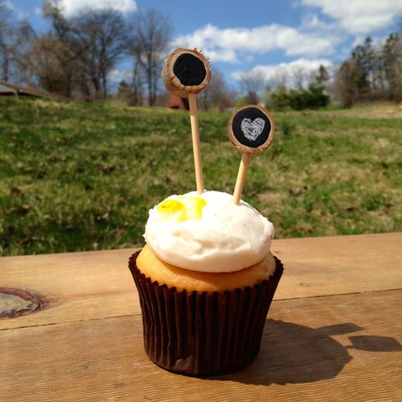 CHALKBOARD Cupcake Toppers  - Rustic Cupcake Toppers