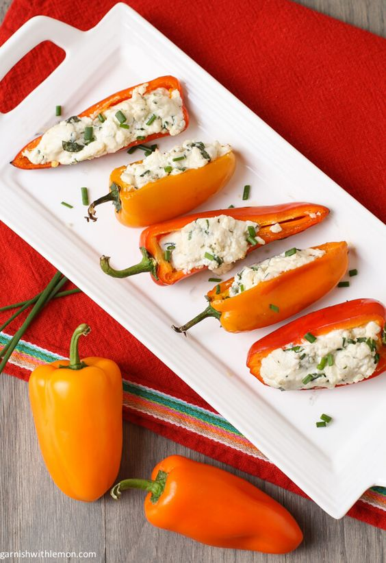 Grilled Peppers with Goat Cheese ~ http://www.garnishwithlemon.com