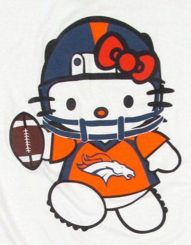 SO CUTE !   HELLO KITTY Denver Broncos T-shirt Football White Anime Cat JUNIORS Tee S,M,L,XL