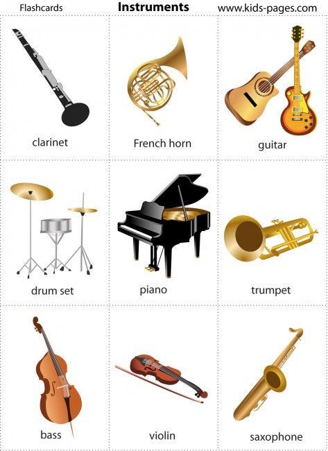 Cientos de tarjetas de instrumentos musicales