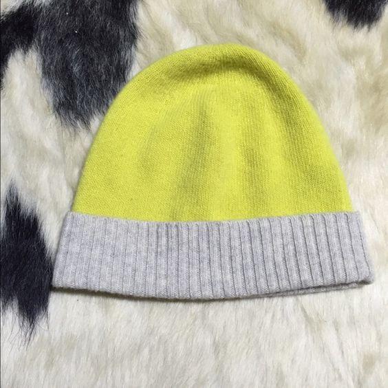 JCrew cashmere beanie Gently worn cashmere JCrew yellow/grey beanie J. Crew Accessories Hats