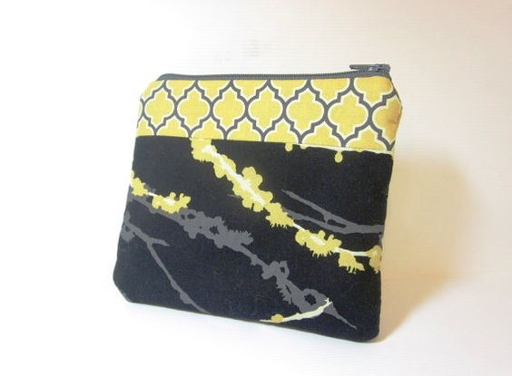 Small Cotton Zipper Pouch  Black and Yellow by handjstarcreations, $8.50