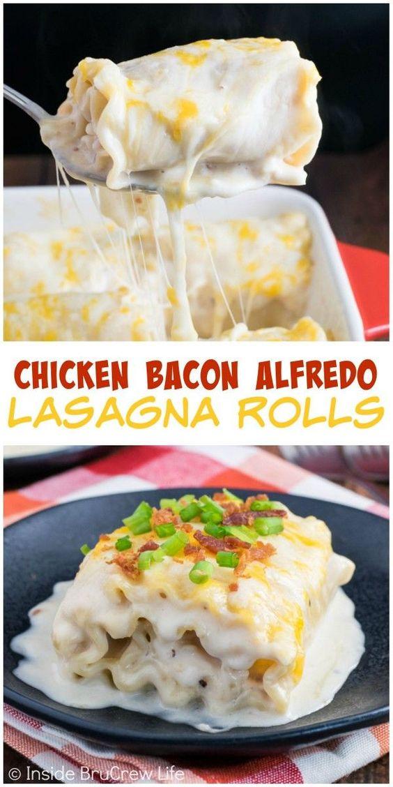 Chicken Bacon Alfredo Lasagna Rolls | Recipe | Chicken Bacon, Lasagna ...