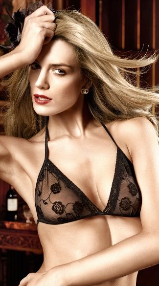 This sexy lingerie set includes a soft mesh, sheer floral print triangle bra lace trim, string halter neck and back ties, and a matching g-string with a lacy waistband and matching floral crotch panel. (Thigh garter not included.) Sheer Floral Halter Bra and G-String Set, Black Bra Top Set, Bra and Panty Set #lingerie #brasets