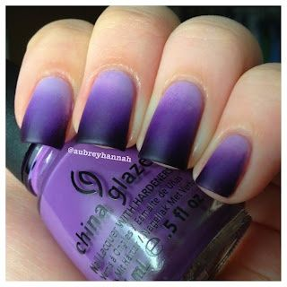 Purple ombre with matte top coat.  I do not normally have the time or resources to paint my nails this complicated, but I just could not resist how pretty this is.  Purple is my favorite color and the matte makes the gradient look so smooth.