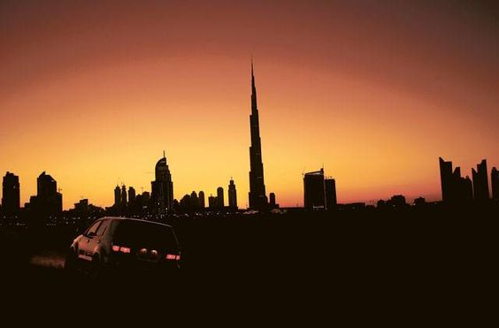 Burj Khalifa against the backdrop of the setting sun