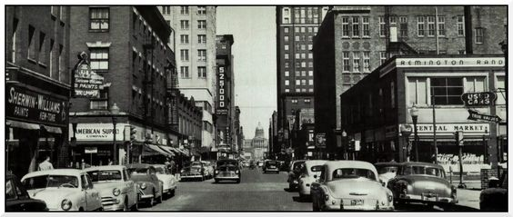 Downtown Des Moines, 9th and Locust looking east, 1957. Locust Street was 2-way then. Equitable Bldg. is right of center, the current Suites of 800 Locust Hotel is just to the right. Note the diversity of shops. There is a Sherwin Williams paint store on the NW corner. This was before there was suburban shopping centers or strip malls.