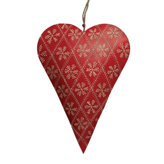 Large red rustic metal decorative hanging heart with hand painted snowflake design Large Red Rustic Snowflake Heart 25203 H 35cm W 35cm Wgt 410g