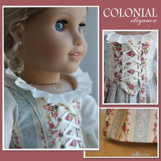 """The """"Colonial Elegance"""" 2-piece dress made to fit 18"""" American Girl Dolls."""