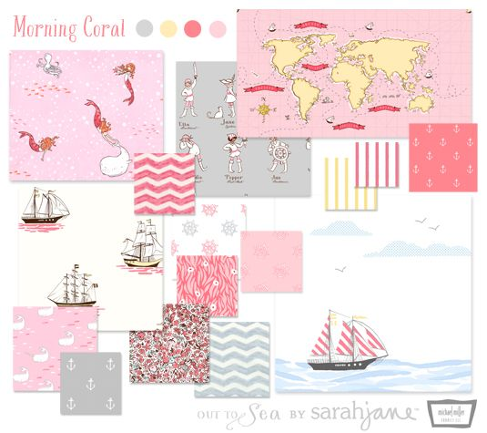 morning coral collection of 'OUT TO SEA' fabric by Sarah Jane for Michael Miller Fabrics