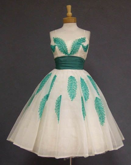 Green and Ivory vintage tea length dress by OBroccoliBear