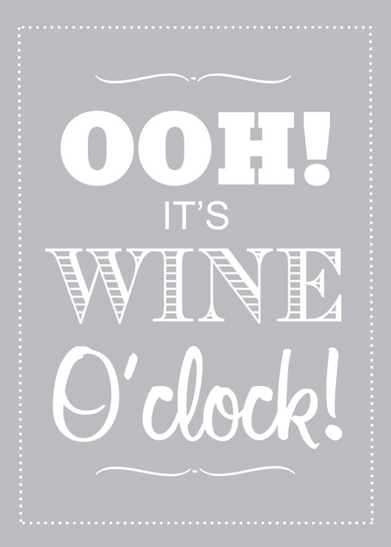 Kitchen Print, Wine Lover, Typography Poster, Its Wine OClock, Customize Colors. $20.00, via Etsy.: