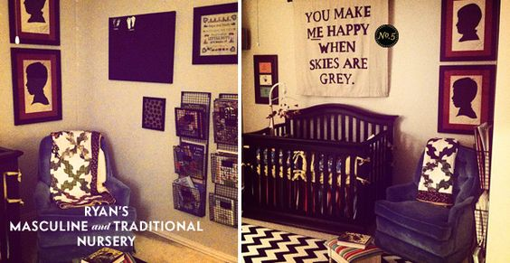 Love the banner above the crib. Made using a dropcloth and paint and hung on a rod.
