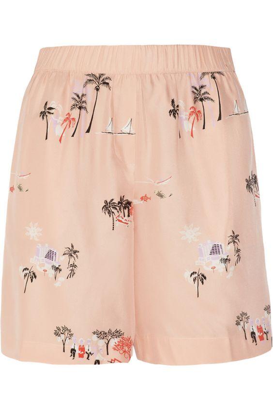 J.CrewVacationland printed silk shorts
