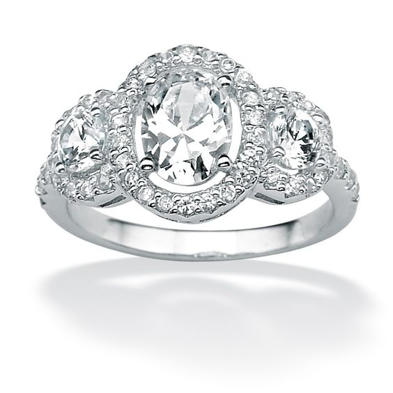 Platinum over Sterling Silver Oval-Cut and Round Triple DiamonUltra™ Cubic Zirconia Anniversary Ring